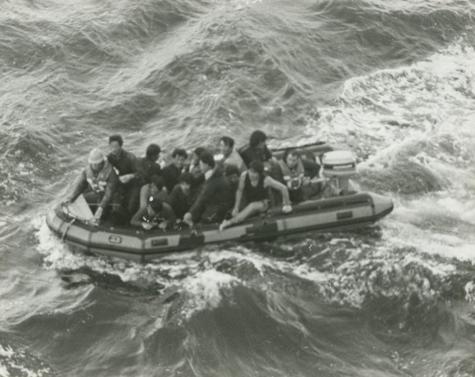 LS Andy Skinner and AB Andrew Funk rescue 12 Korean fishermen whose trawler had foundered in heavy weather. Three other Korean sailors could not be found.