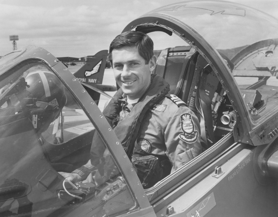 Lieutenant Commander David Ramsay served on exchange with the the Royal Navy's 899 Naval Air Squadron. He is seen here in a Sea Harrier, the Royal Navy's vertical take-off strike aircraft, circa 1980.