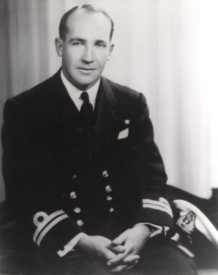 A young Lieutenant Victor Smith, RAN wearing the ribbon of the Distinguished Service Cross awarded for outstanding zeal while serving with the Royal Navy during World War II.