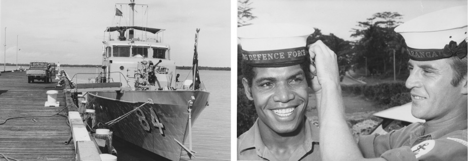 Left: HMAS Aitape alongside HMAS Tarangau. Right: Leading Seaman Larry Allen assists one of his PNG counterparts with his new cap ribbon of the Papua New Guinea Defence Force.