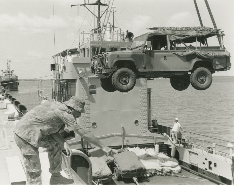HMAS Labuan disembarking Army vehicles during exercise KANGAROO, 1992