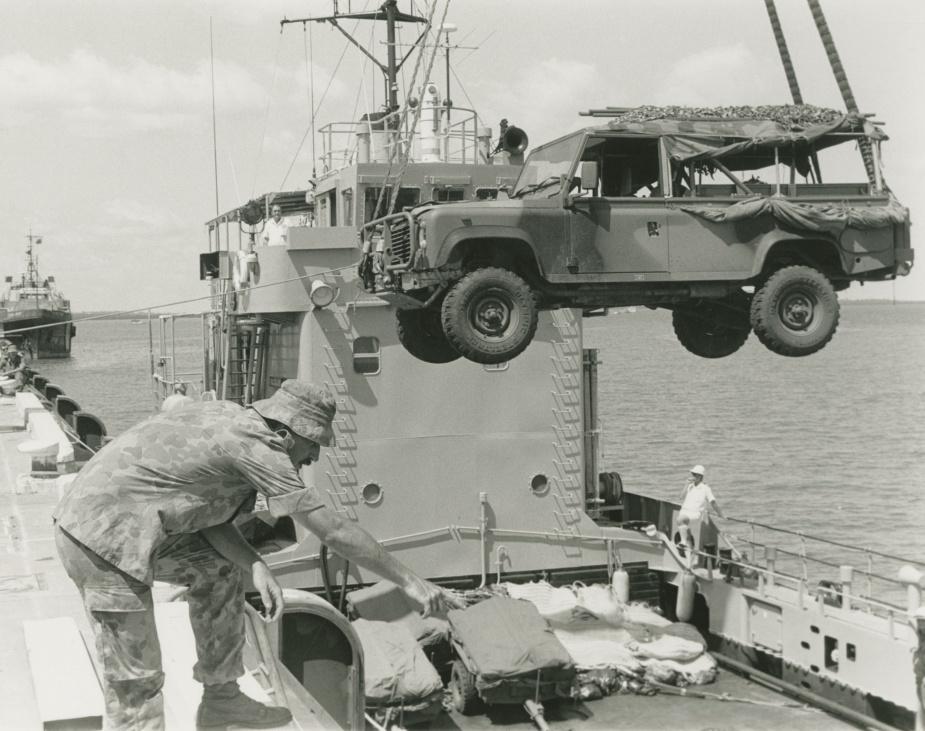 HMAS Labuan disembarking Army vehicles during exercise KANGAROO, 1992