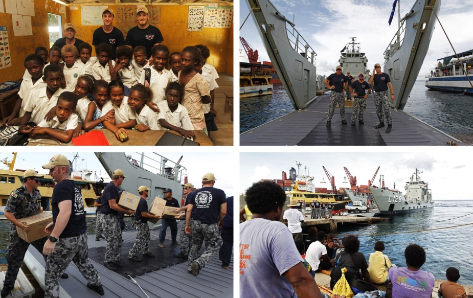 Top Left: Back row, from left, Able Seaman Boatswains Mate Caleb Eustice, Seaman Communication and Information Systems Connor White, Able Seaman Communication and Informations Systems Jackson Walkear of HMAS Labuan with classroom students of Macmahon Community School in Tulaghi Island during Operation Render Safe 2013. Top Right: HMAS Labuan opens the bow door to receive stores in Port of Honiara during Operation Render Safe 2013 in Solomon Islands. Bottom Left: HMAS Labuan receive stores in Port of Honiara