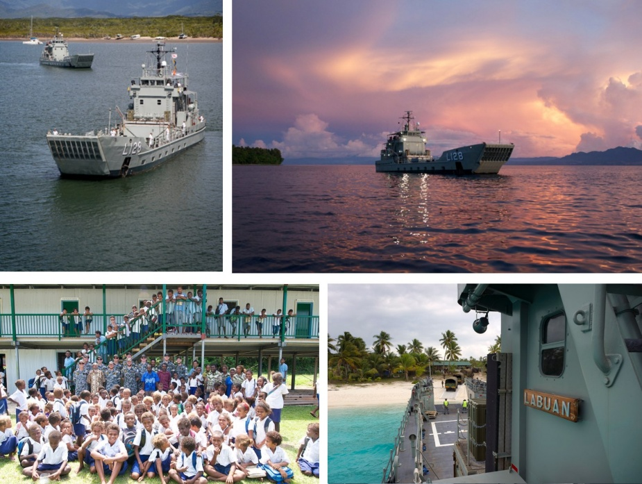 Top left: HMA Ships Labuan and Tarakan outside HMAS Cairns Naval Base prior to sailing with HMAS Brunei for the Solomon Islands, 21 July 2014. Top right: HMAS Labuan at anchor off Savo Island, Solomon Islands, 14 September 2014. Bottom left: Members of HMAS Labuan's ship's company with the students and teachers of McMahon Community School at Tulagi, Solomon Islands, 16 September 2014. While in the Solomon Islands, the Landing Craft Heavy took delivery of education, medical and flood relief supplies and transported them to remote communities. Bottom right: HMAS Labuan conducts amphibious operations on the island of Lifou, New Caledonia during Exercise CROIX DU SUD 2014.