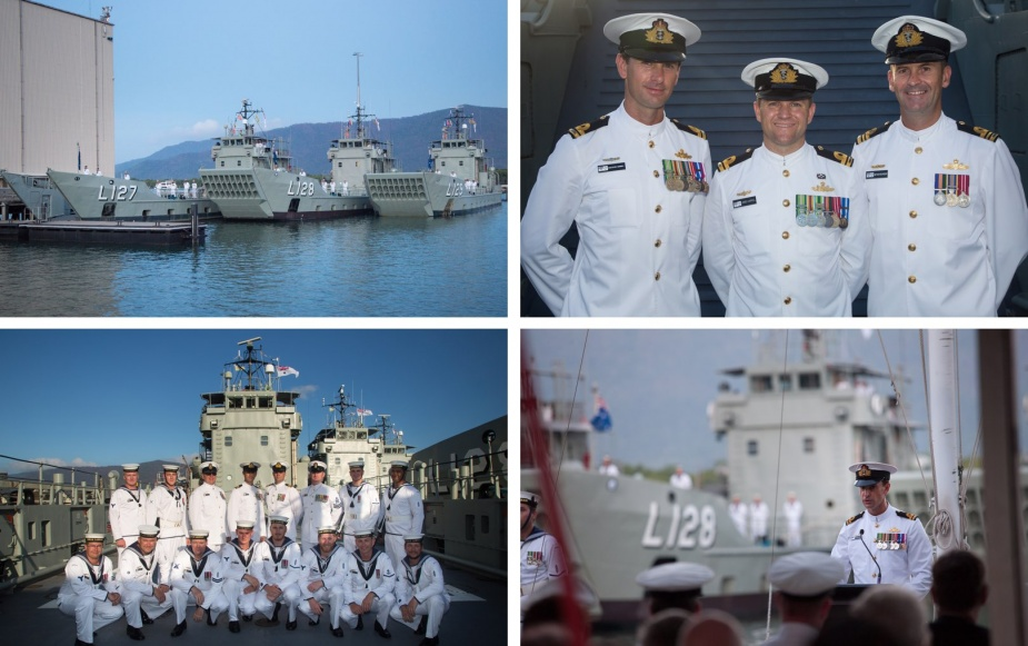 Top left: Ships' companies of HMA Ships Brunei, Labuan and Tarakan man ship at the beginning of the Landing Craft Heavy decommissioning ceremony. Top right: from left, Commanding Officer HMAS Labuan Lieutenant Christopher Cockerill, RAN; Commanding Officer HMAS Tarakan Lieutenant James Carroll, RAN; and Commanding Officer HMAS Brunei Lieutenant Commander Matthew Richardson, RAN on the tank deck of Brunei prior to the decommissioning ceremony. Bottom left: Ship's company of HMAS Labuan pose for a photo on the tank deck of Brunei. Bottom right: Commanding Officer HMAS Labuan Lieutenant Christopher Cockerill, RAN addresses the audience.