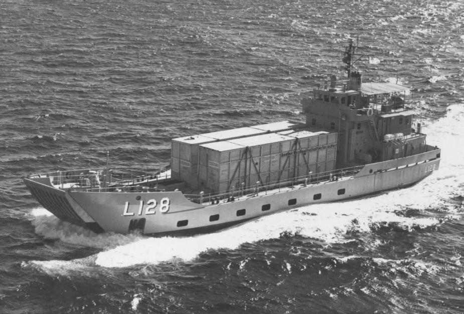 HMAS Labuan transporting two of the RAN's new Sea King helicopters in crates to Jervis Bay.