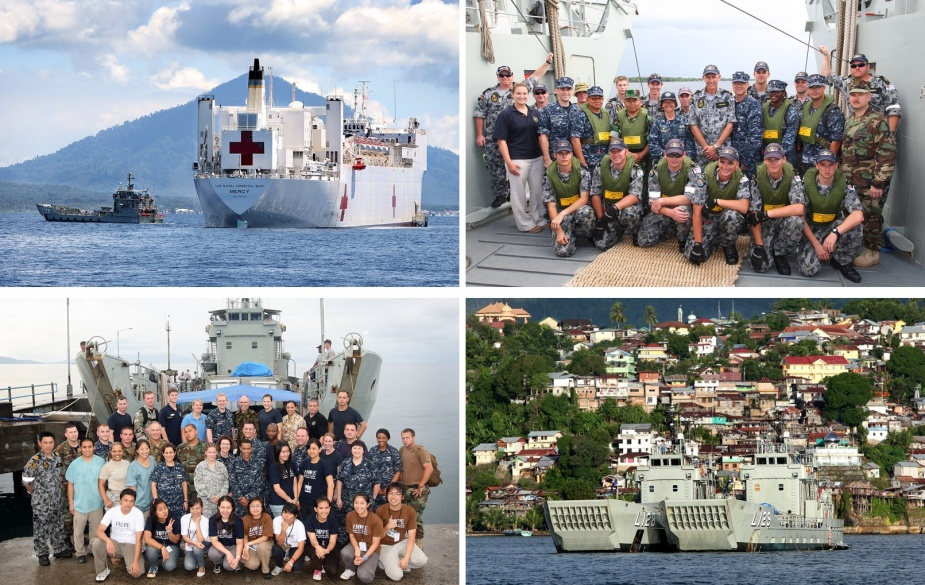 Top Left: HMAS Labuan departs United States Naval Ship Mercy's port side after unloading cargo for Pacific Partnership 2010 off the North Maluku Islands, Indonesia. Top Right: Captain Lisa Franchetti, Commander Pacific Partnership 2010 (centre) with some of the Pacific Partnership team, including HMAS Labuan ship's company, on the tank deck of HMAS Labuan during Pacific Partnership 2010. Bottom Left: The Sofifi medical and dental teams on the wharf in front of HMAS Labuan during Pacific Partnership 2010. Un