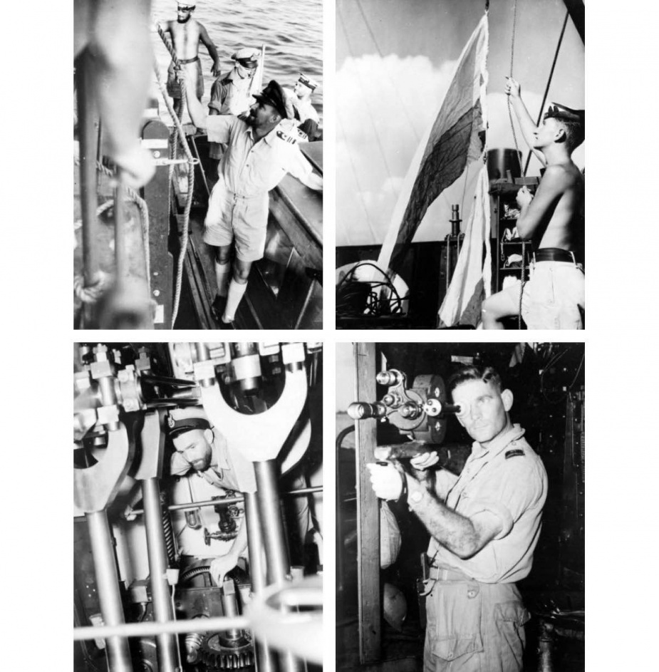 Top Left: Commanding Officer of Lachlan goes ashore for a conference prior to an amphibious operation. Survey ship of an Allied Task Force, Lachlan is an entirely Australian-built and performs one of the most hazardous tasks in the Soutb-West Pacific area, c. 1945 (AWM 018564). Top Right: Hoisting signal flags on Lachlan is Signalman CJ Green of Beverley Hills, NSW (AWM 018606). Bottom Left: Powerful engines of Lachlan, survey ship of Allied amphibious Task Force under Admiral Daniel Barbey, are keenly insp
