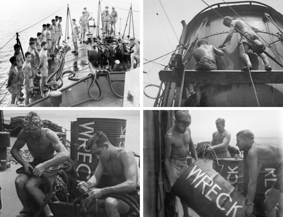 Top Left: Morning muster aboard Lachlan. While the captain watches on the bridge, the ships 'No.1' and junior officers detail watches for the day, at sea, Borneo c. 1954 (AWM 018562). Top Right: Ratings scraping the funnel of Lachlan in preparation for painting, at sea, off Morotai c. 1954 (AWM 108222). Bottom Left: Able Seaman W Stevenson and Able Seaman FVE New splicing rope alongside a wreck buoy, aboard Lachlan (AWM 108223). Bottom Right: Able Seaman WT Attwater, Able Seaman PA Johnson and Able Seaman N