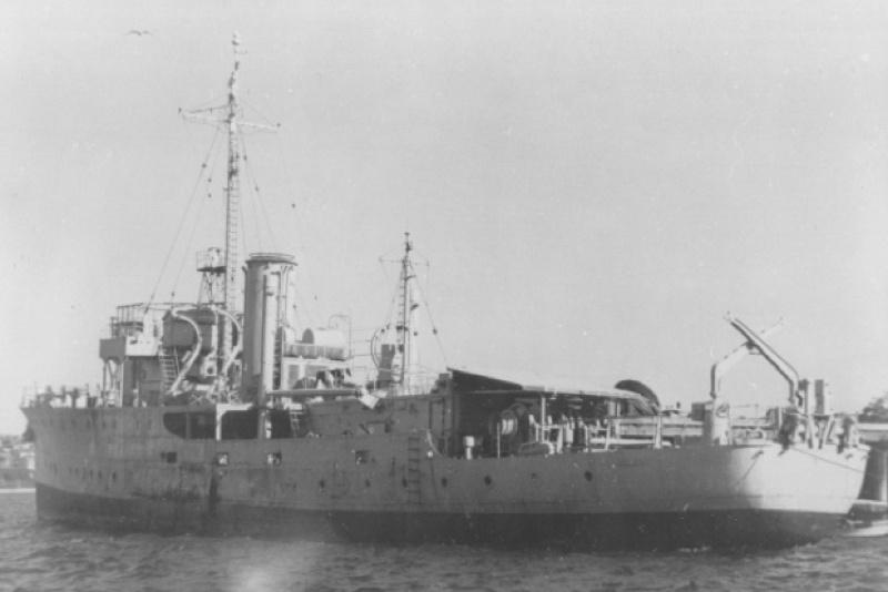 HMAS Ararat laid up after World War II, awaiting disposal.