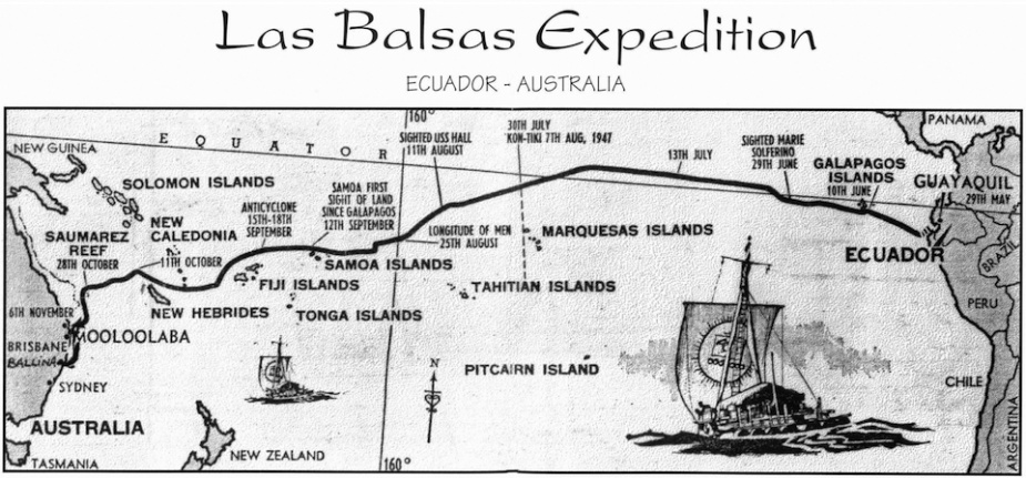 The track of the Las Balsas expedition across the Pacific. (Ballina Naval & Maritime Museum)