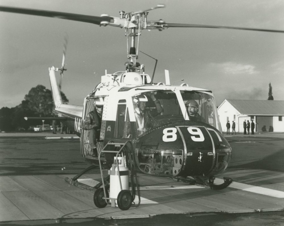 The RAN's last Iroquois prepares for its final flight at NAS Nowra in 1989. Lieutenant Keith Champion was the pilot while the Commanding Officer of HMAS Albatross, Commodore Matt Taylor, sits right seat.