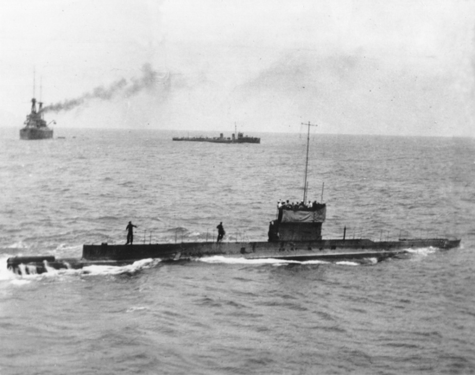 One of the last known photographs taken of HMA Submarine AE1 prior to her disappearance on 14 September 1914