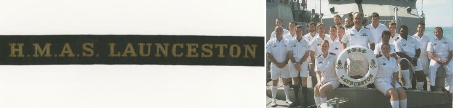 Left: HMAS Launceston's tally band. Right: Decommissioning crew of HMAS Launceston.
