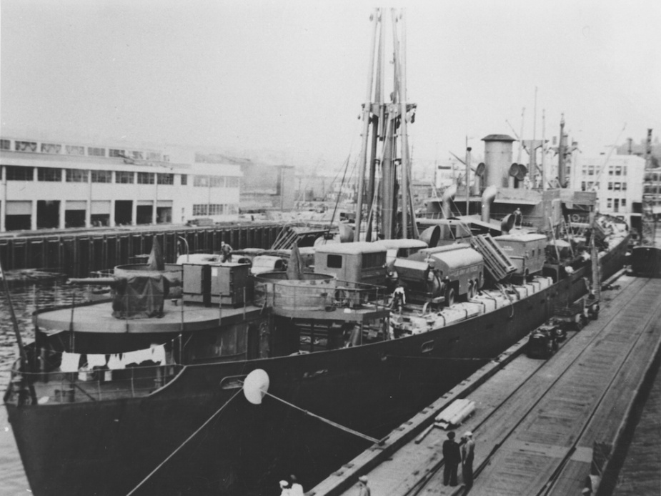 The Liberty Ship Peter Silvester with a full cargo of war materials (Project Liberty Ship 26 749)