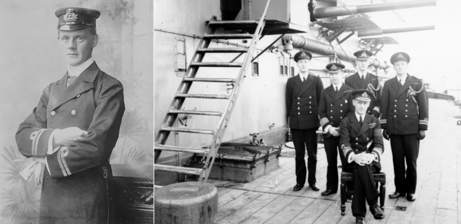 Left: Lionel Halsey seen as Lieutenant. Right: Rear Admiral Halsey, Rear Admiral Commanding the Australian Fleet and his staff on HMAS Australia