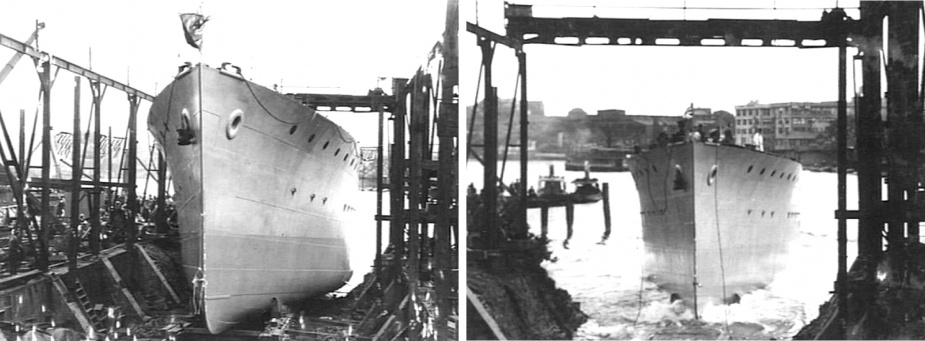 HMAS Lithgow takes to the water for the first time (L: AWM 004396, R: AWM 004397).
