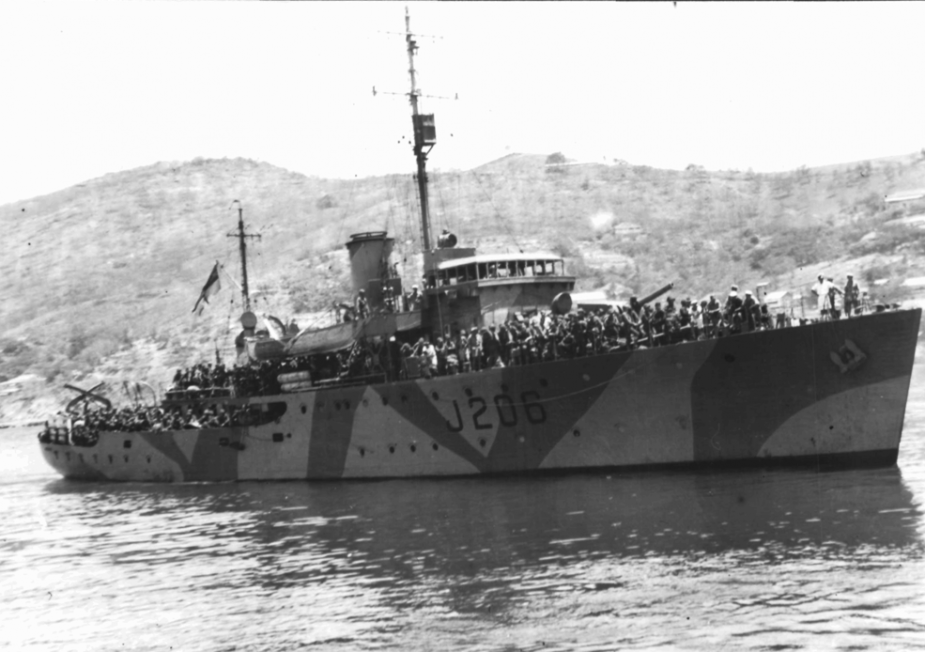 HMAS Lithgow wearing her wartime disruptive pattern camouflage paint