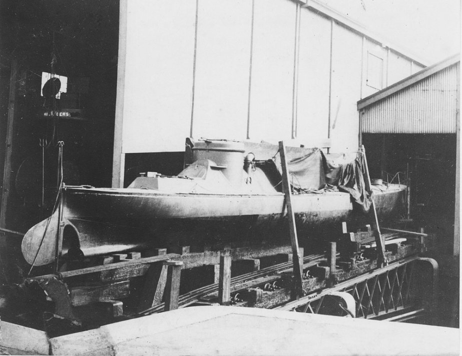 When not involved in exercises the topedo boats were routinely placed on slipways at Williamstown. Here Lonsdale can be seen 'high and dry' with the larger HMVS Childers visible in the shed behind her.