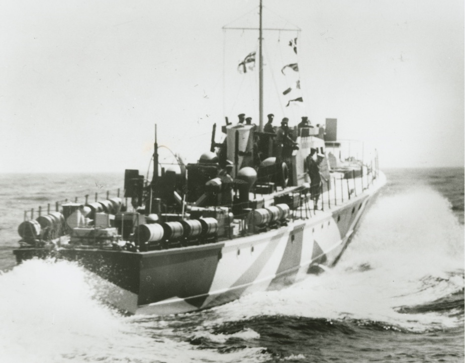 ML 814 at high speed. Note the depth charges on her quarterdeck