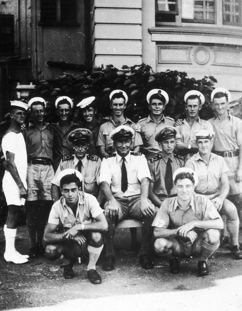 ML 814's first ship's company. Top row: R.C. Ling, R. Hayes, D. Partridge, Brewer, J. Nelson, J. Livingstone, D. Ashford, G. Constable; middle row: 'Chips' Wood, Reg Kennedy, Marsden Hordern, D. Davey; bottom row: T.Trewick, J. Old. (Absent D. Kelly)