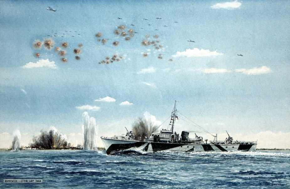 ML 814 under air attack in Darwin Harbour. Original painting by John Howell courtesy M C Hordern collection.