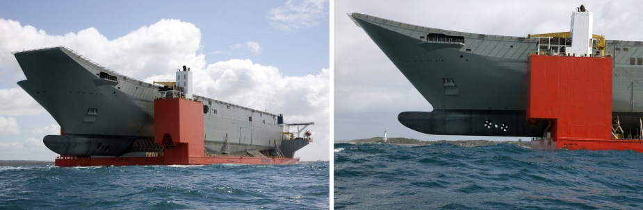 MV Blue Marlin transporting Canberra into Port Phillip Bay, October 2012.