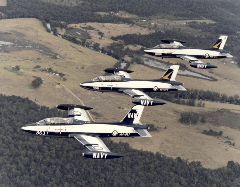 RAN Macchi trainers in flight over Nowra.