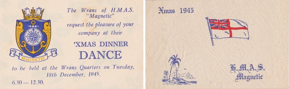 Season's Greetings from HMAS Magnetic, Christmas 1945. Note the palm tree and idyllic vista.