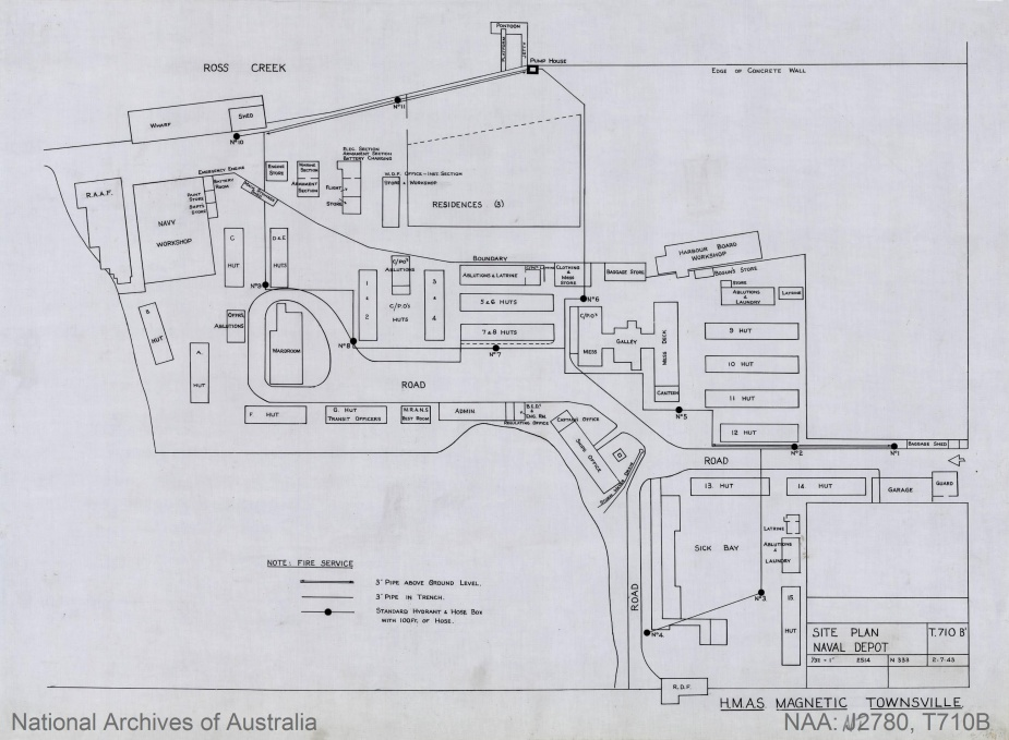 The HMAS Magnetic base plan. A netted swimming pool was later added immediately behind the Ship's Office