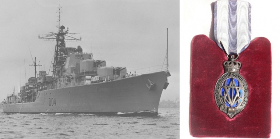 Left: HMAS Voyager leaving Sydney Harbour for the last time on 6 February 1964. Right: Midshipman Marien's Albert Medal.