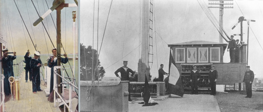 Left: An early mechanical semaphore in use at sea. Right: The Garden Island Signal Station, Sydney, c.1913. Note the 'crank handle' mechanical semaphore visible in the background