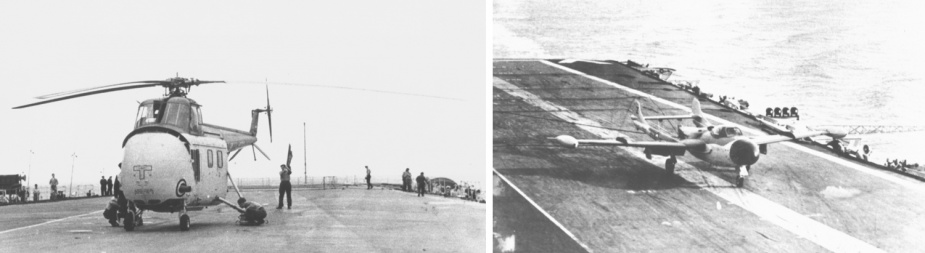 The first aircraft to land on HMAS Melbourne. Left: A Royal Navy Westland Whirlwind. Right: A Hawker De Havilland Sea Venom.