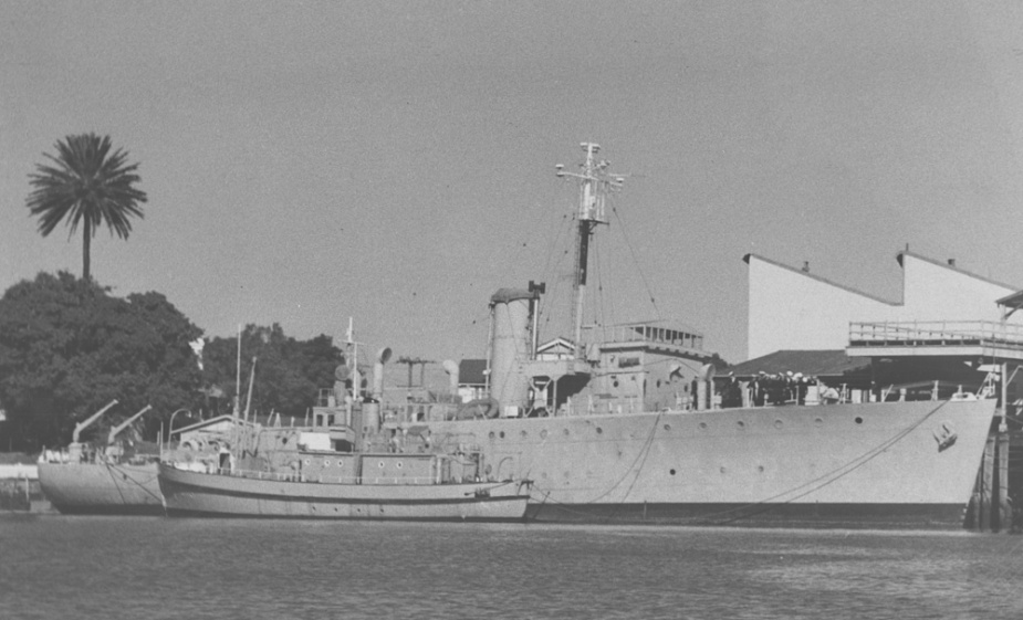 The former RAN corvette Mildura alongside HMAS Moreton at the New Farm premises.