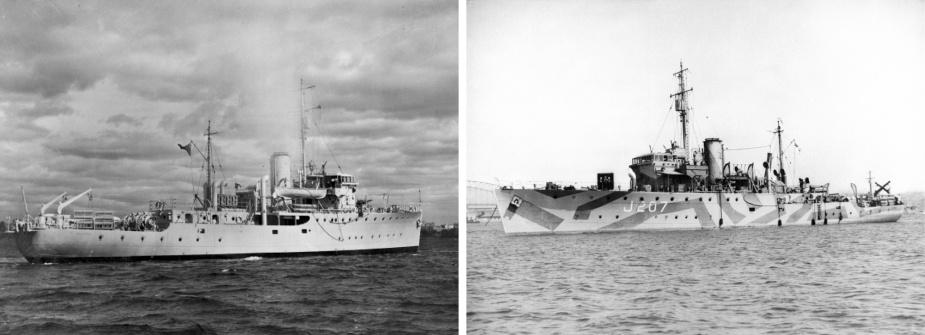 Left: Mildura. Right: HMAS Mildura wearing her wartime disruptive pattern camouflage paint.