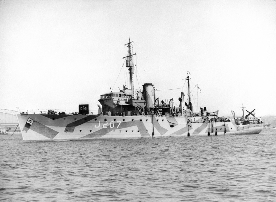 HMAS Mildura wearing her wartime disruptive pattern camouflage paint