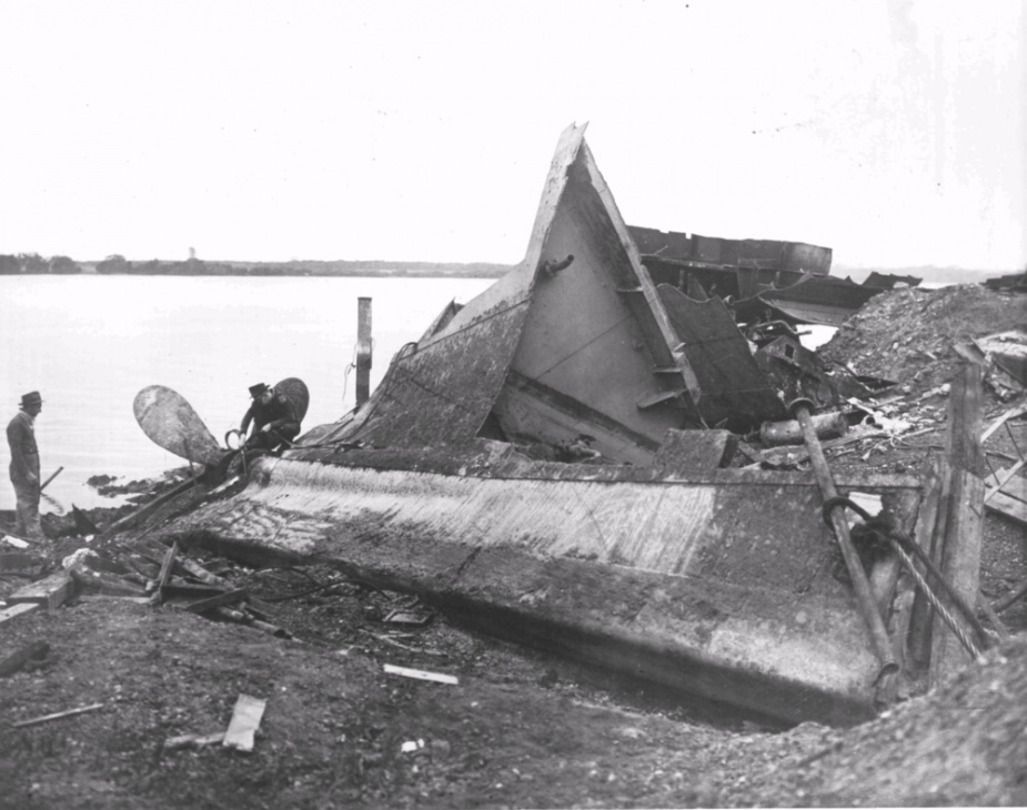 The remains of Moresby's hull being scrapped at Newcastle c.1947