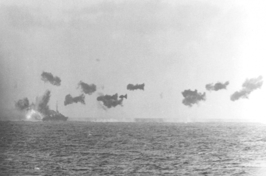 HMAS Arunta was narrowly missed by a Kamikaze on 5 January 1945 en route to Lingayen landings. Photograph taken from USS Tulagi