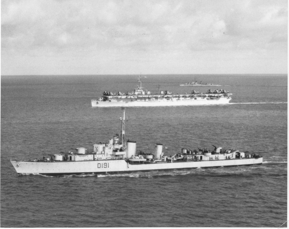 HMAS Bataan in company with USS Bataan off the Korean coast, 17 April 1951.