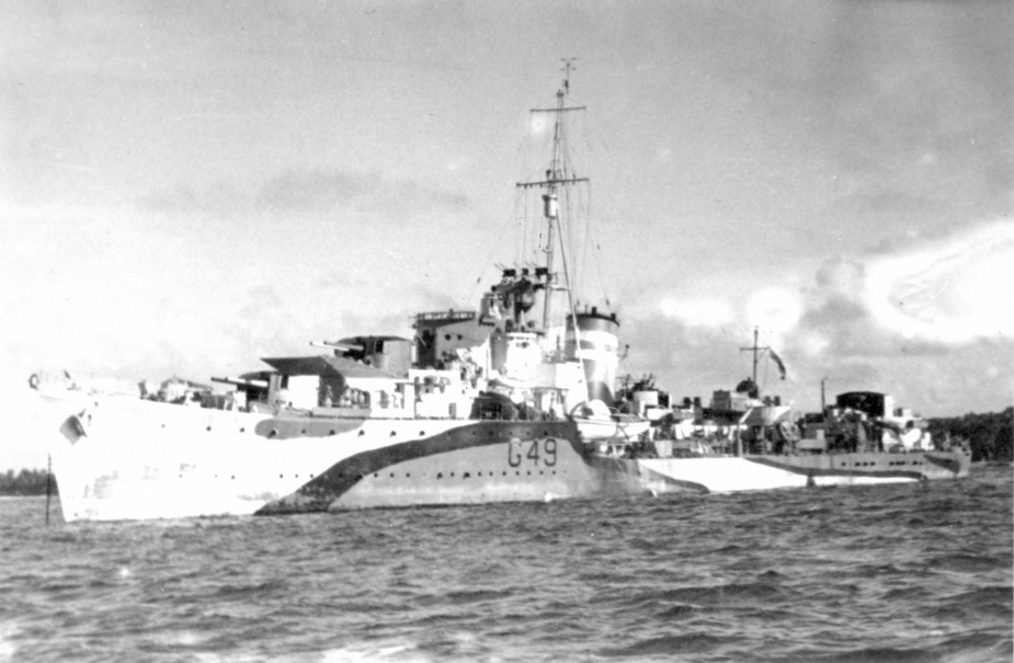 HMAS Norman wearing her wartime disruptive pattern camouflage paint.