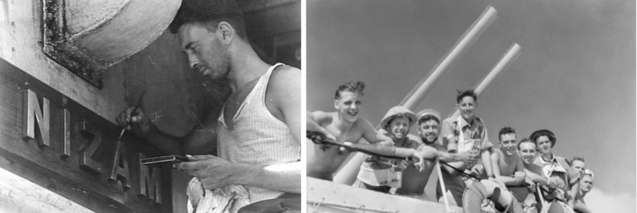 Left: Able Seaman William Paul touches up Nizam's name board between actions. Right. Soldiers of the 2nd AIF embarked in Nizam en route to Tobruk