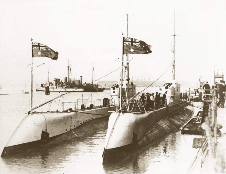 HMAS Oxley alongside her sister ship HMAS Otway
