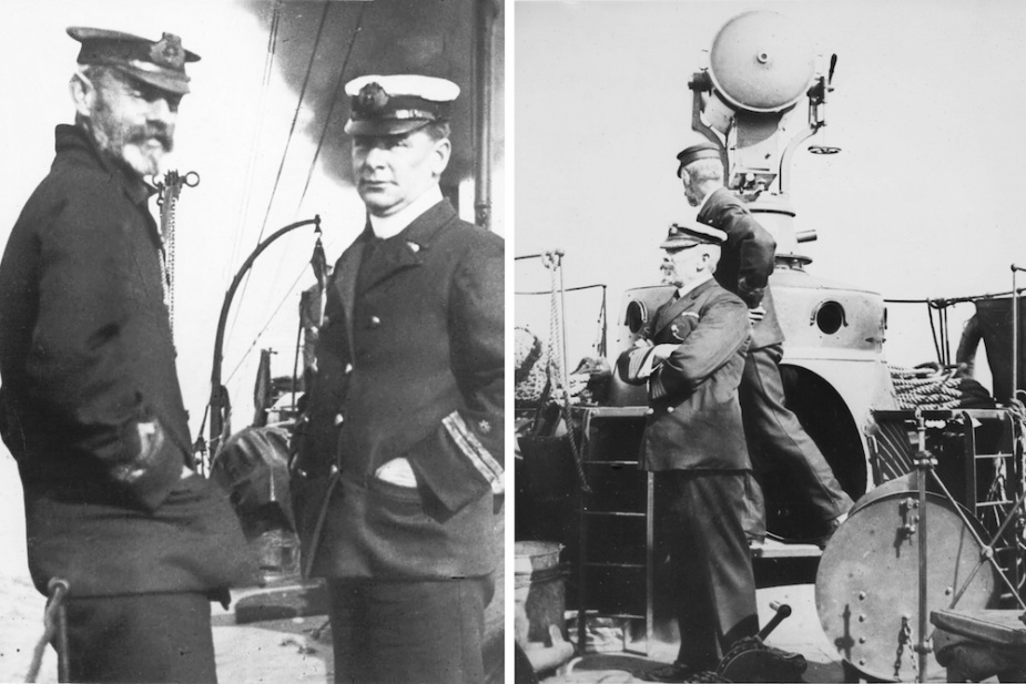Left: Officers of the Victorian Naval Forces on board 'Countess' circa 1897. Right: Captain WR Creswell overseeing manoeuvres on Port Phillip Bay while embarked in 'Countess' c.1905.