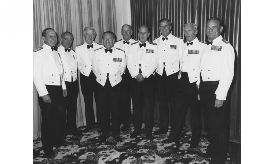 Royal Australian Navy senior officers at a mess dinner in Canberra, ACT on 9 March 1981. L-R: Rear Admiral Stevens, Rear Admiral Lynam, Rear Admiral Rourke, Rear Admiral Swan, Vice Admiral Willis, Rear Admiral Loosli, Rear Admiral Leach, Rear Admiral Doyle and Rear Admiral Robertson.