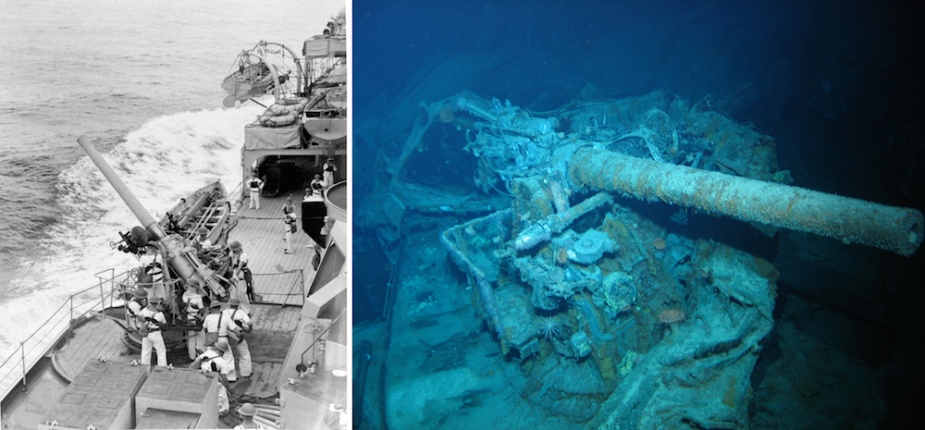 Left: Sydney's port, forward 4-inch gun (designated P1) being served by its gun's crew. Right: P1 in situ on Sydney's wreck. The 4-inch gun deck showed signs of heavy damage as is evident in this image.