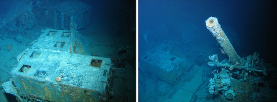 Left: The remains of ready-use 4-inch ammunition lockers on Sydney's gun deck. Right: The port, aft 4-inch gun (designated P2) as it is today.