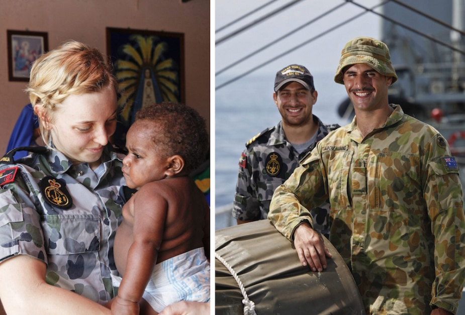 Left: Able Seaman Communications and Information Systems Operator Jordan Shephard nurses a baby at the Lujan Home for Girls in Vanimo. Right: Lieutenant Daniel Khayat with Sapper Wael Abou Hamad on the forecastle of HMAS Tobruk.