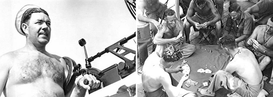 Left: Able Seaman S Jones, RAN, manning a 20MM Oerlikon gun c.1945 (AWM 115658). Right: