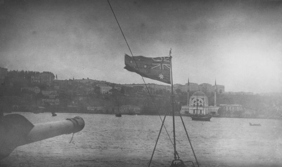 The Australian Flag flying from the bow of HMAS Parramatta on her arrival at Costantinople. The domed building in the background is the Hagia Sophia, which is today a museum.