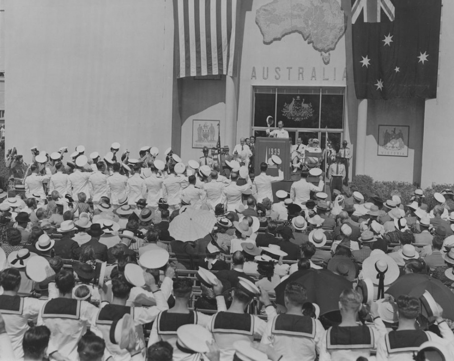 Captain Farncomb leads his men in 'three cheers' on the occasion of Australia Day at the 1939 New York World's Fair